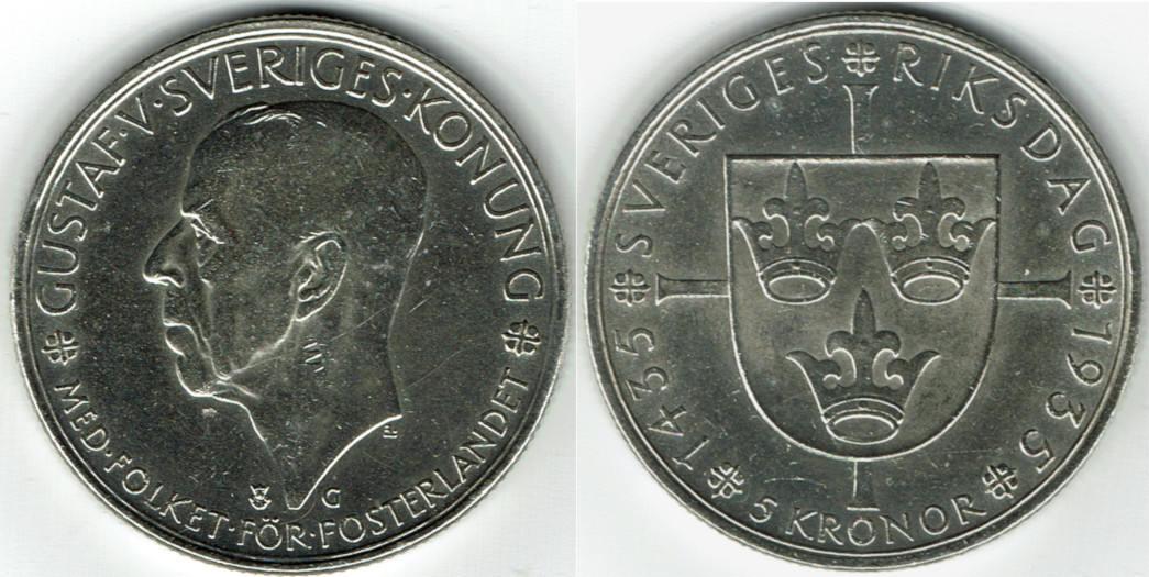 5 Kronor 1935 Schweden Sweden Silver Coin 50th Anniversary Of Riksdag Vf Ef Kratzer Am Hals Ma S