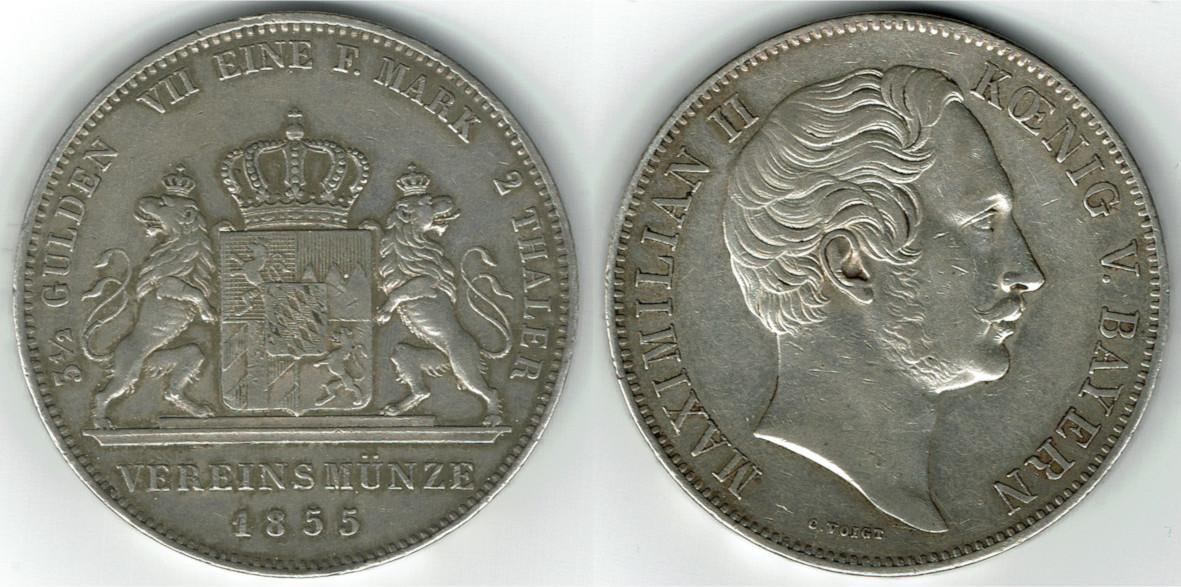 2 Taler Doppeltaler 1855 Bayern Kursmünze Idoppeltaleri 1855