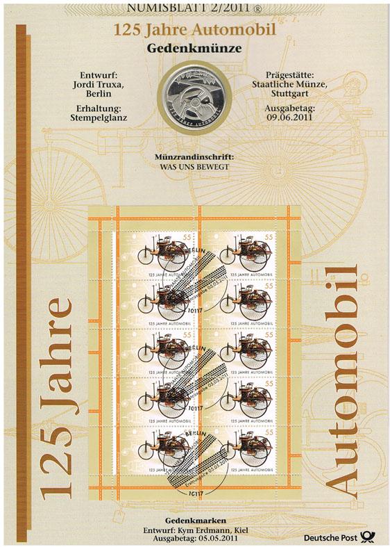 10 Euro 2011 Brd Deutschland Numisblatt 22011 Mit 10 Münze 125 Jahre Automobil Numisblatt Stempelglanz