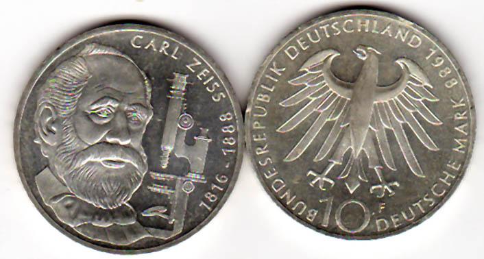 10 Dm 1988 Brd 10 Dm Gedenkmünze Icarl Zeissi 1988 F Silber