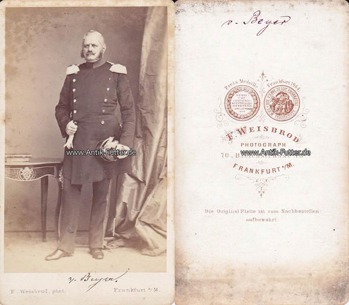 Um 1865 Preussen Baden Carte De Visite CdV Kabinettfoto General Gustav Friedrich Von Beyer 2 3