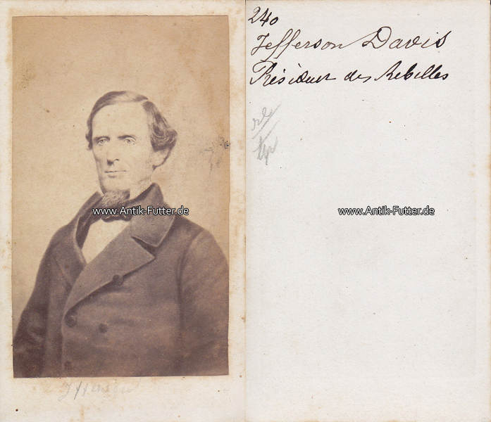 Um 1860 USA Fairview Kentucky New Orleans Louisiana Carte De Visite CdV Jefferson Finis Davis 3
