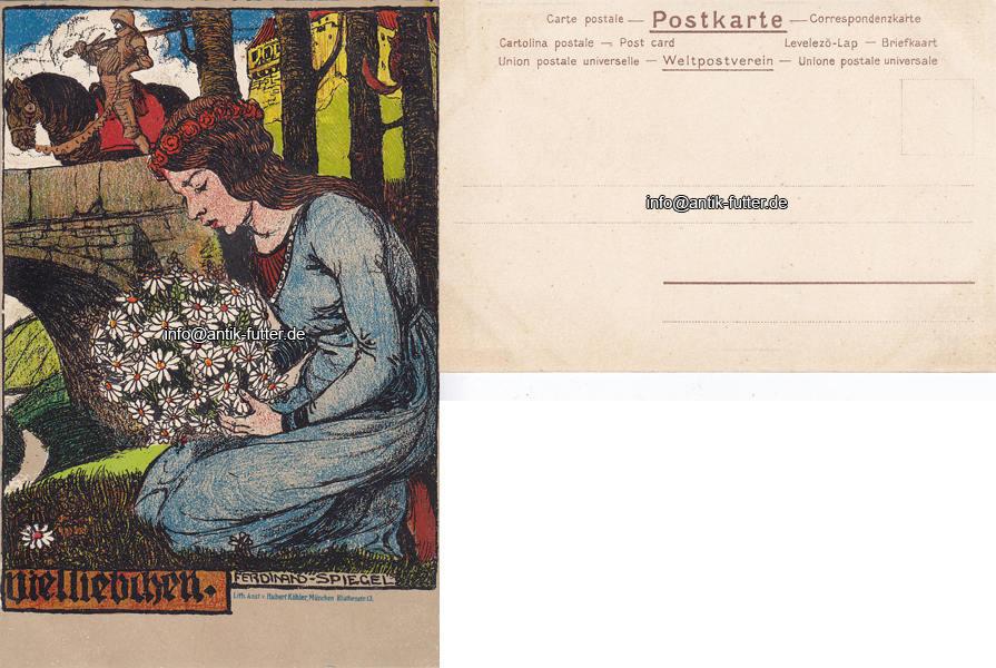 Badspiegel München o j würzburg münchen ansichtskarte künstlerkarte ferdinand