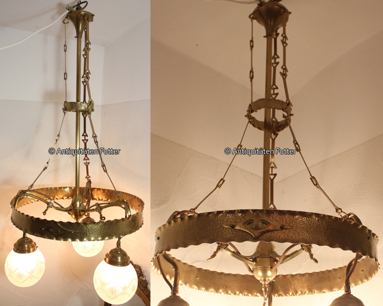 Jugendstil Deckenlampe um 1910 deutsches reich jugendstil / deckenlampe / hängelampe 2 | ma