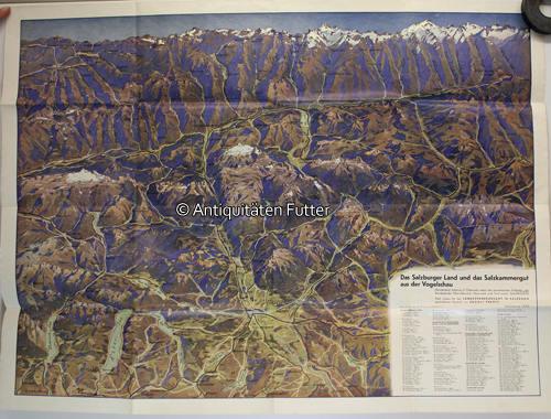 Salzkammergut Karte.1935 Osterreich Salzburger Land Salzkammergut Karte Das Salzburger Land Und Das Salzkammergut Aus Der Vogelschau 2