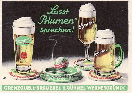 O.J. Wernesgrün i. V. Werbekarte / Grenzquell-Brauerei, H. Günnel ...