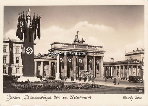 1940 drittes reich berlin ansichtskarte berlin brandenburger tor im festschmuck wessely foto 2. Black Bedroom Furniture Sets. Home Design Ideas
