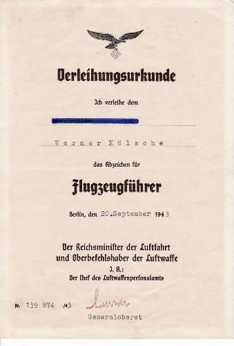 1943 Drittes Reich Verleihungsurkunde für das Flugzeugführer ...