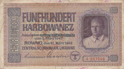 500 Karbowanez 10.3.1942 Ukraine Besatzung...