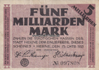 5 Milliarden Mark 25.10.1923 Herne / Westf...