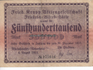 500000 Mark 6.8.1923 Rheinhausen / Niederr...