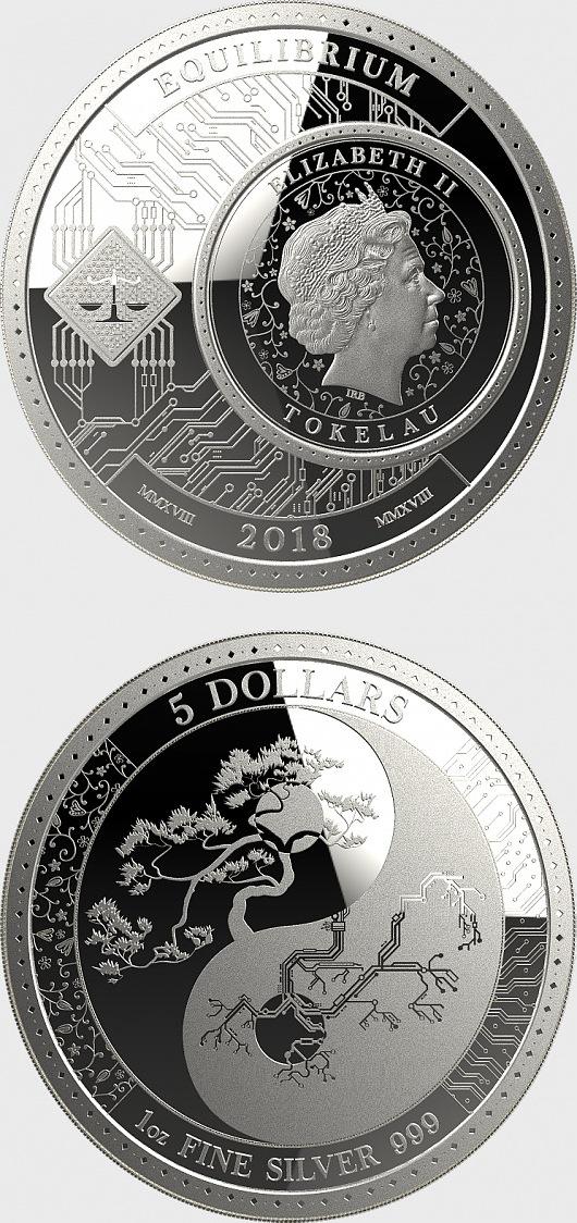 2018 Tokelau Equilibrium Series Yin /& Yang 1 oz Silver Limited BU Round Coin