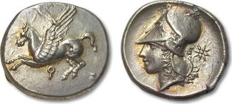 AR Stater 345-307 B.C. ANCIENT GREECE Corinthia, Corinth -- gold irridescence -- VF+/EF- gold irridescent toning on both sides, small flan crack