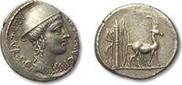 AR denarius 55 B.C. ROMAN REPUBLIC Cn. Pla...