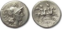 AR denarius 148 B.C. ROMAN REPUBLIC M. Ati...