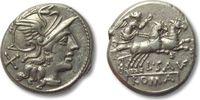AR denarius 152 B.C. ROMAN REPUBLIC L. Sau...