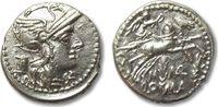 AR denarius 134 B.C. ROMAN REPUBLIC M. Mar...