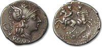 Denarius 136 B.C. ROMAN REPUBLIC C. Servil...