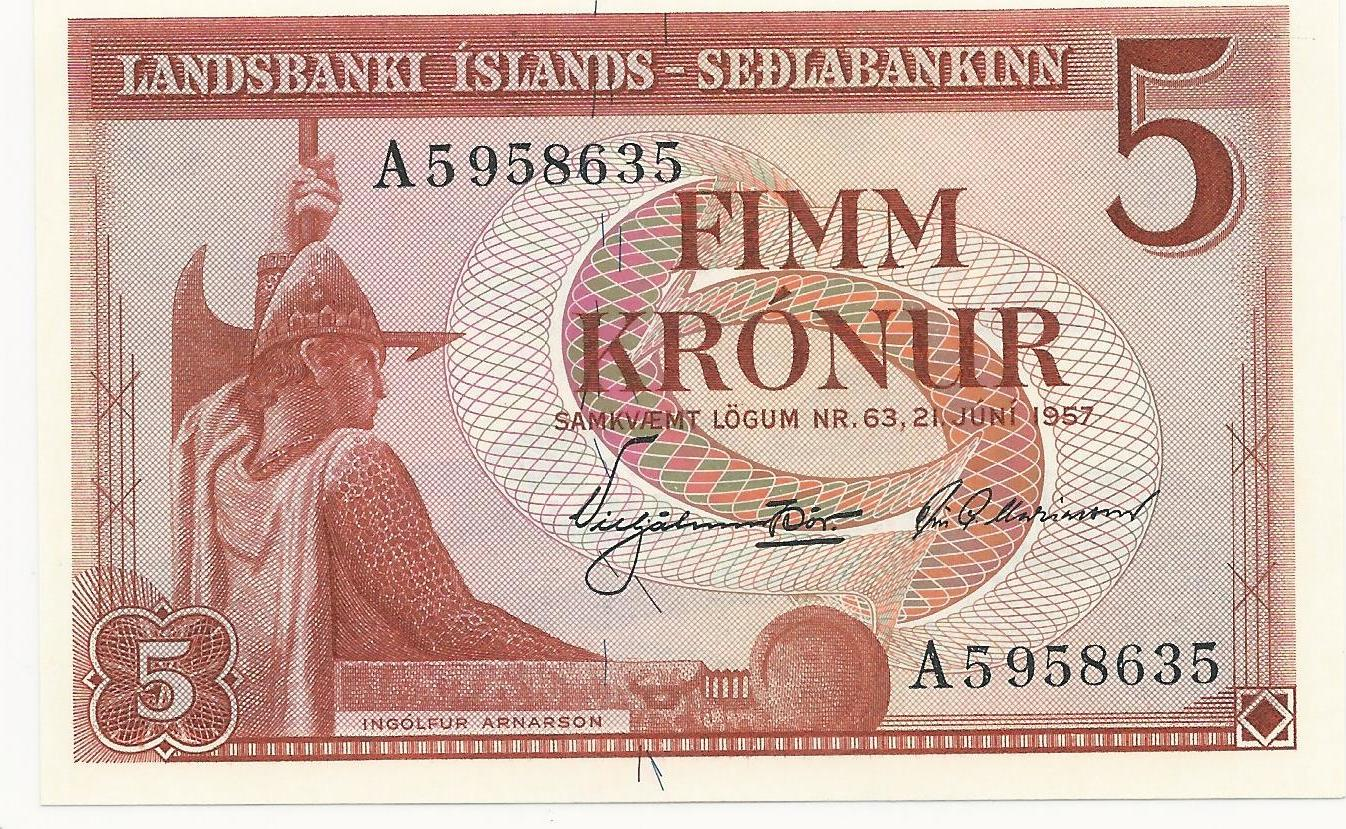 Iceland Paper Money 5 Kronur 1957 UNC