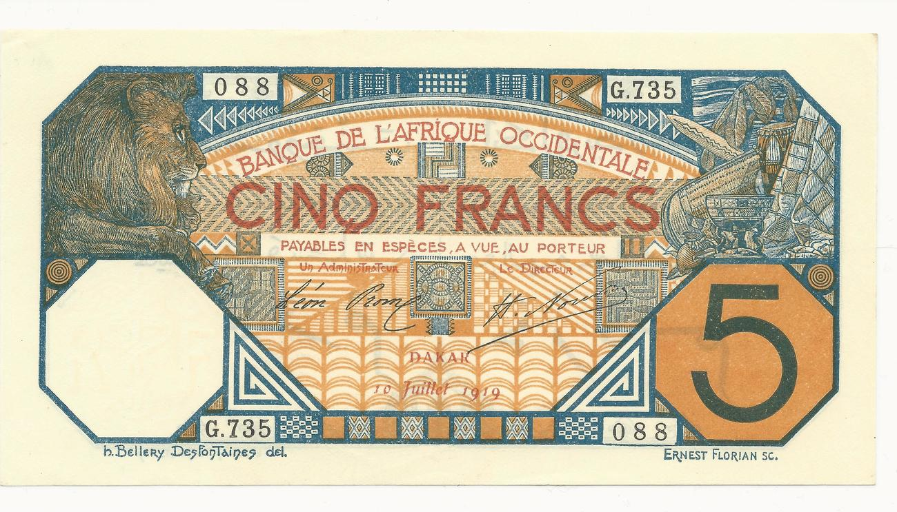 5 Francs 10/07/1919 Afrique Occidentale Française Dakar