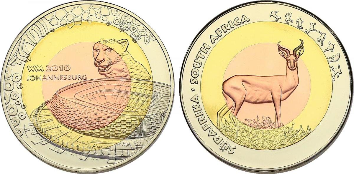 Medaille 2009 Sudafrika Serie Fussball Wm 2010 Stadion Johannesburg Gepard Unc Mit Zertifikat