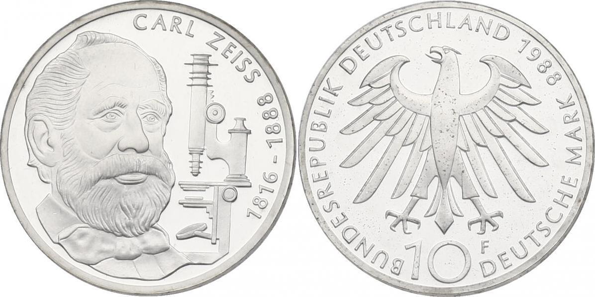 10 Mark 1988 Deutschland Carl Zeiss 1816 1888 Proof Im