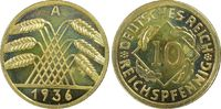 10 Reichspfennig 1936-A Weimarer Republik Reichspfennig PP fein, Kontra... 785,00 EUR  +  15,00 EUR shipping