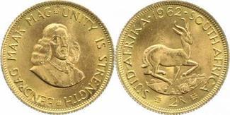 2 Rand Gold 1962 Südafrika Republik 1960. Vorzüglich+