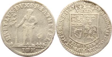 1 6 thaler 1753 i braunschweig calenberg hannover georg ii 1727 1760 vf ma shops. Black Bedroom Furniture Sets. Home Design Ideas