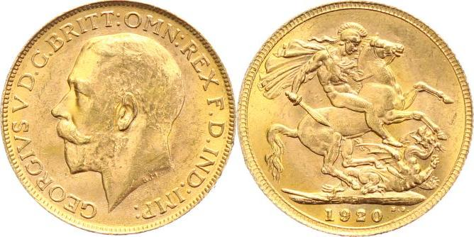 One Pound Gold 1920 P Australien George V 1910 1936 Vf Ef Ma Shops