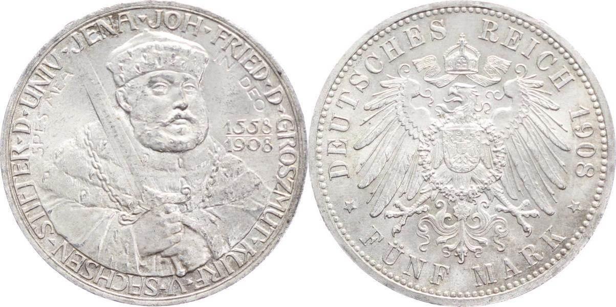 5 Mark 1908 Sachsen Weimar Eisenach Wilhelm Ernst 1901 1918 Hübsche