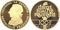 100 Francs Gold 1987 Frankreich Fünfte Rep...