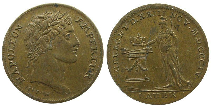 Jeton 1804 Jetons Bronze Lauer, Napoleon Empereur, auf die Krönung, ca. 26,2 MM EF