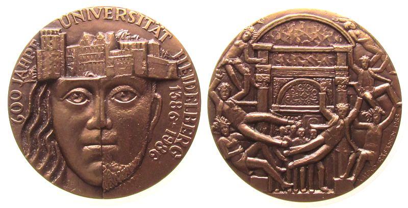 Medaille 1986 Heidelberg Bronze Heidelberg - auf die 600 Jahrfeier der Heidelberger Universität, geteiltes Gesicht unter dem Heidelberger Schloß / jubeln gußfrisch