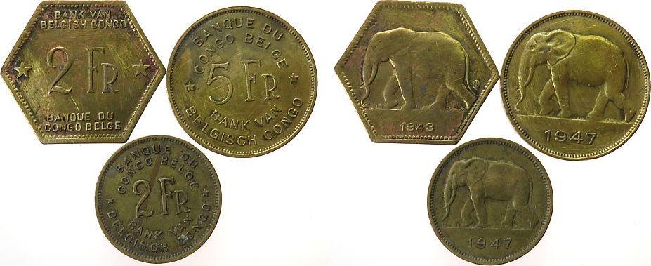 12 Francs 1943 47 Belgisch Kongo Me Elefant 5 Münzen F Vf Vf Ma