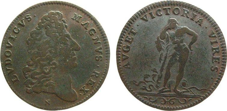 """Jeton Louis XIV """"AUGET VICTORIA VIRES"""" ... S75-24"""