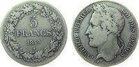 5 Francs 1849 Belgien Ag Leopold I fast ss