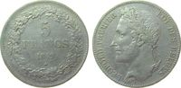 5 Francs 1849 Belgien Ag Leopold I ss