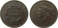 1 Cent 1838 USA Br Coronet, etwas flaue Pr...