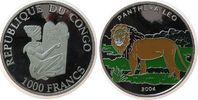1000 Francs 2004 Kongo DR. Ag Löwe, Farbmü...
