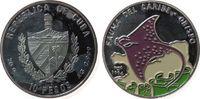 10 Pesos 1994 Kuba Ag Rochen, Farbmünze, f...