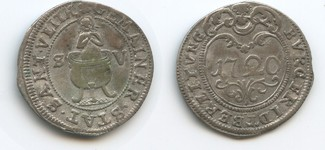 Burgfriedbereitung Münze 1720 Österreich Sankt Veit M#3464 - Sankt Veith  St.Vitus betend im Ölkessel  Sehr schön
