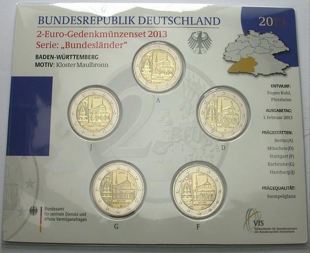 5 x 2 euro 2013 a d f g j deutschland baden w rttemberg bu. Black Bedroom Furniture Sets. Home Design Ideas