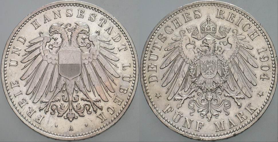 5 Mark 1904 A Lbeck Freie Und Hansestadt Patina Winz Randfehler EF