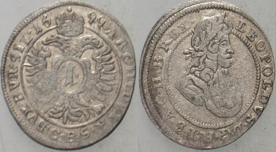 496247ed4 1 Kreuzer 1699 CB - Brieg Schlesien Leopold I., 1657-1705 Leichte  Prägeschwäche, VF-EF   MA-Shops