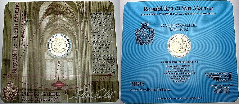 2 Euro 2005 San Marino GALILEO GALILEI Im Blister ohne Umverpackung, BU