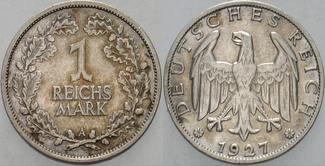 1 Reichsmark 1927 A   Patina, sehr schön - vorzüglich