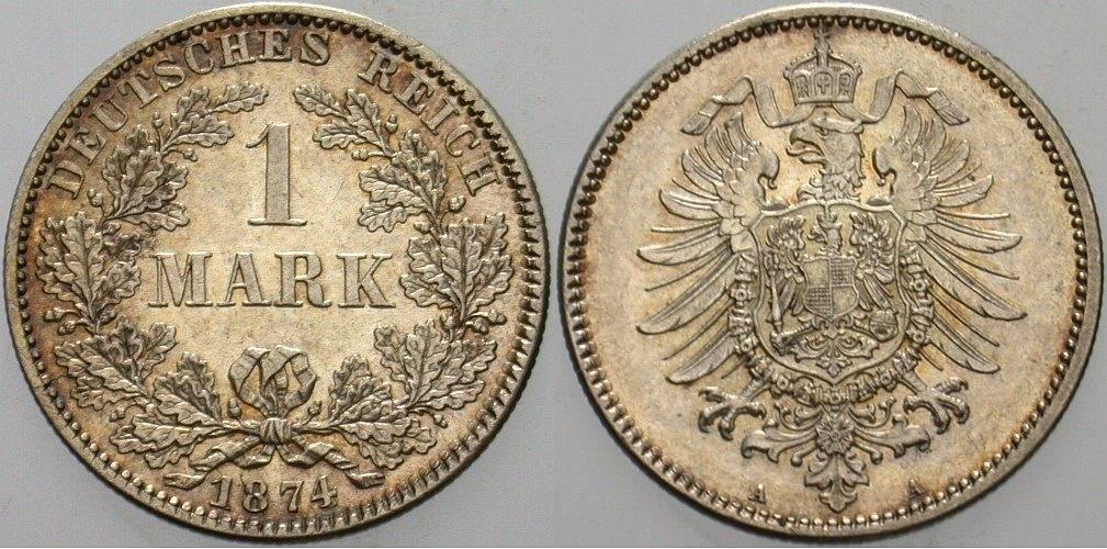 1 Mark 1874 A Kleinmünzen Kleiner Adler Unc Ma Shops