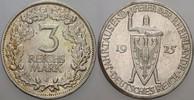 3 Reichsmark 1925 J   Patina, fast vorzüglich