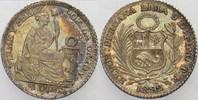 1/2 Dinero 1892 Peru Republik Patina, vorz...
